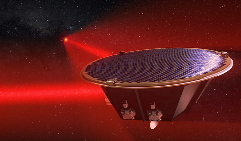 Artist's impression of a Laser Interferometer Space Antenna (LISA) mission concept spacecraft. Image: AEI/Milde Marketing/Exozet