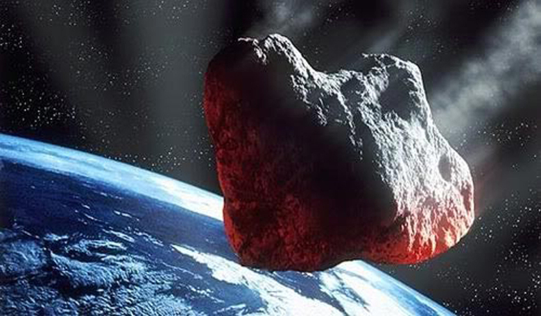 An artist's illustration of a large asteroid headed for Earth. Image: ESA