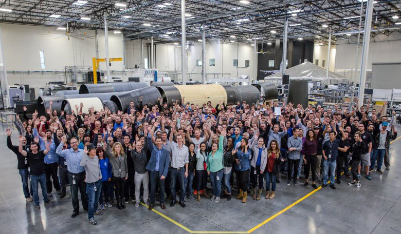 A group photo of the LauncherOne team. Image: Virgin Galactic