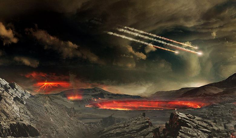 How did life evolve on the early Earth around four billion years ago? Image: NASA Goddard Space Flight Center Conceptual Image Lab.