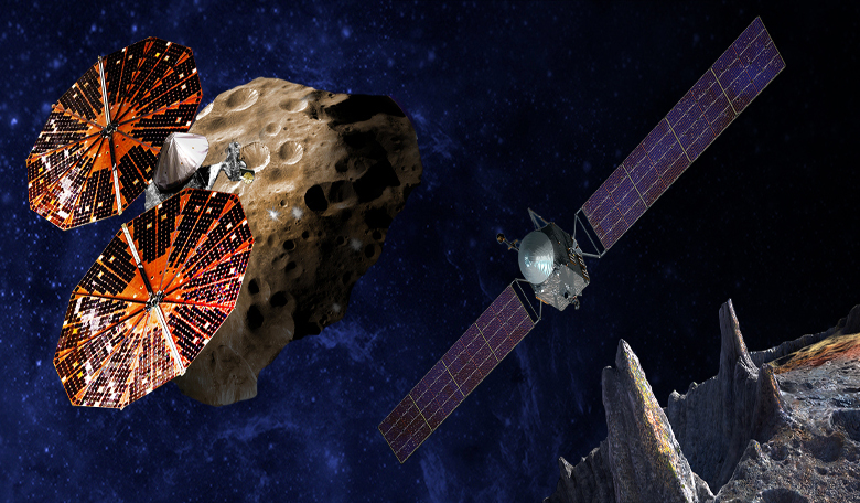 An artist's conception of the Lucy spacecraft flying by the Trojan Eurybates (left) and Psyche, the first mission to the metal world 16 Psyche (right). Image: SwRI and SSL/Peter Rubin