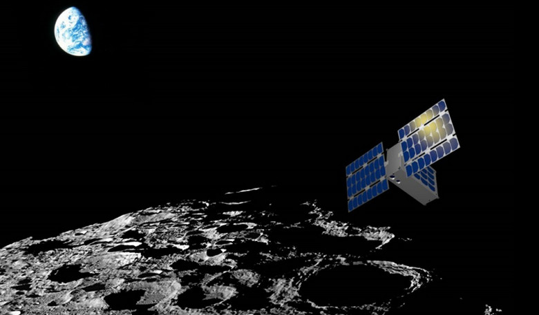 A CubeSat surveying the Moon. Image: Sean Amidan / ASU / SpaceTREx