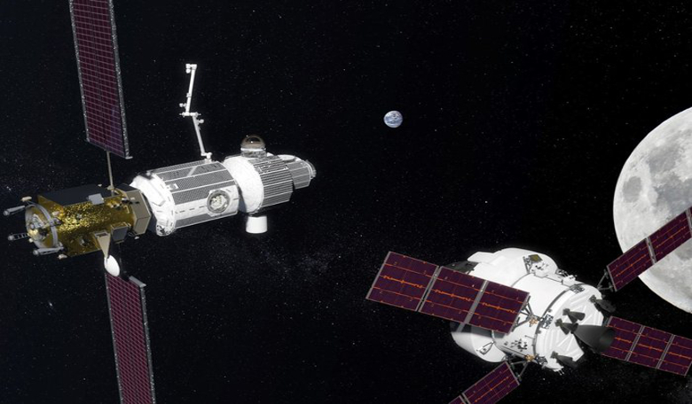 Artist's impression of a space gateway. Like a mountain refuge, it will provide shelter and a place to stock up on supplies for astronauts en route to more distant destinations. Image: NASA