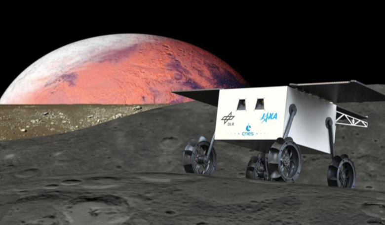 An artist's impression of the MMX mission on one of the Martian moons. Image: CNES