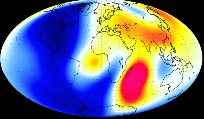 Magnetic mapping of Earth by the ESA Swarm Satellites (red shows where the magnetic field is strengthening and blue shows where it is weakening). Picture courtesy of ESA.