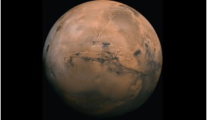 Mars showing the Valles Marineris.