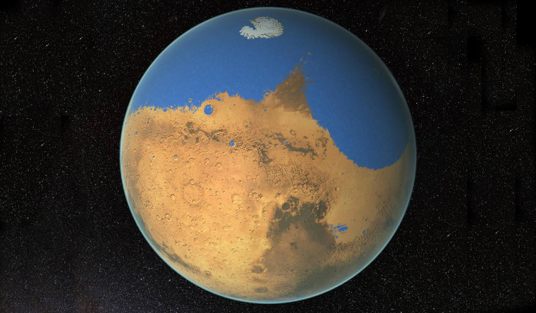 Was Mars once a red and blue planet? Scientists suggest that oceans predated the forming of the Tharsis volcanic plateau. Image: NASA/GSFC