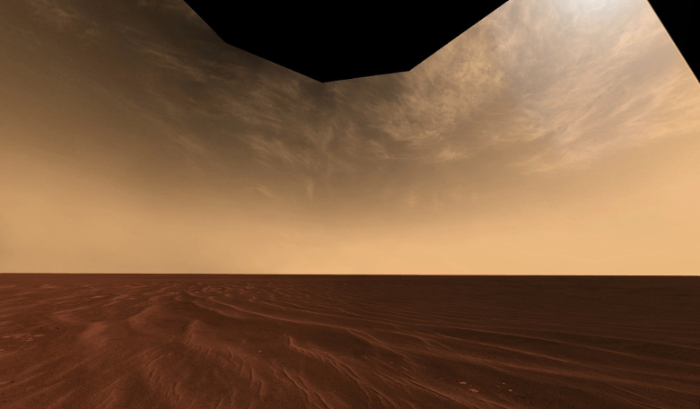 Clouds and Sand on the Horizon of Mars. Image: Mars Exploration Rover Mission, Cornell, JPL, NASA