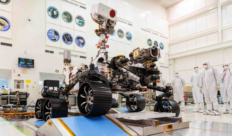 NASA's latest Mars rover, Perseverance, in the clean room getting ready for launch. Image: NASA