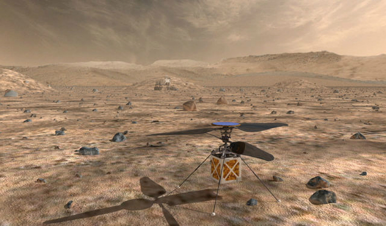 NASA's Mars Helicopter, a small, autonomous rotorcraft, will travel with the agency's Mars 2020 rover, currently scheduled to launch in July 2020, to demonstrate the viability and potential of heavier-than-air vehicles on the Red Planet. Credits: NASA/JPL
