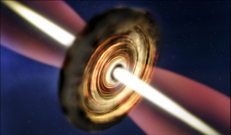 Artist's impression of the disc and outflow around the massive young star. Credit: A. Smith, Institute of Astronomy, Cambridge.