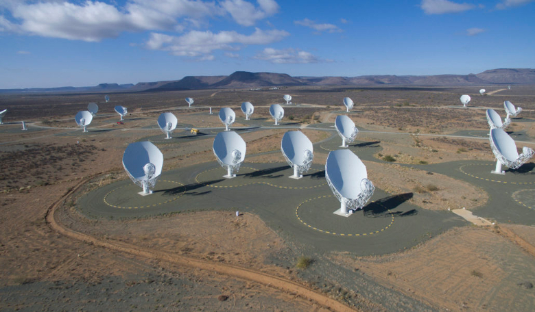 An overview of the MeerKAT radio telescope array currently being built in Karoo, South Africa. Image: SKA