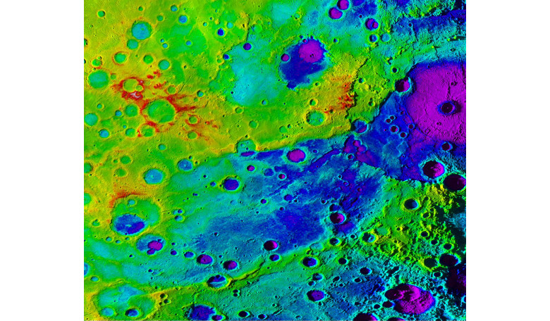 Using colorized topography, Mercury's 'great valley' (dark blue) and Rembrandt impact basin (purple) are revealed in this high-resolution digital elevation model merged with an image mosaic. Image: NASA/JHUAPL/Carnegie Institution of Washington