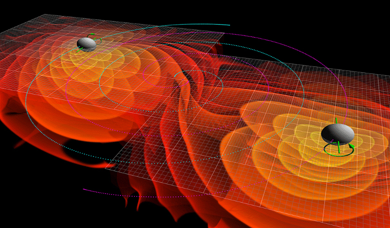 Numerical simulations of the gravitational waves emitted by the inspiral and merger of two black holes. Image: NASA/Ames Research Center/C. Henze