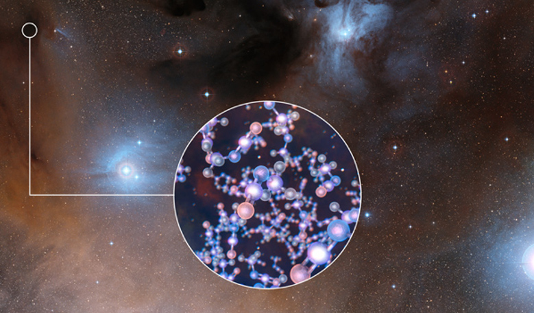 This image shows the spectacular region of star formation where methyl isocyanate was found. The insert shows the molecular structure of this chemical. Credit: ESO/Digitized Sky Survey 2/L. Calçada