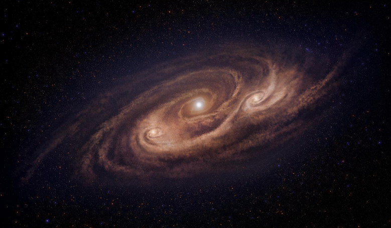 Artist's impression of COSMOS-AzTEC-1 - a galaxy located 12.4 billion light-years away that is forming stars 1000 times more rapidly than our Milky Way Galaxy. Image: National Astronomical Observatory of Japan