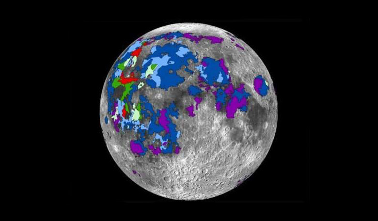 A map of basaltic lavas that emitted gases on the lunar nearside that contributed to the Moon's atmosphere. Image: Debra Needham