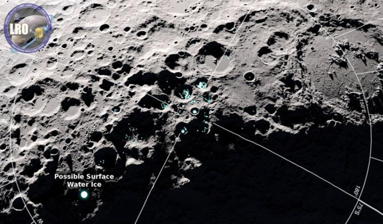 This LRO image of the moon shows areas of potential frost. Image: NASA's Goddard Space Flight Center/Scientific Visualization Studio