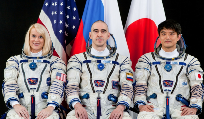 International Space Station Expedition 48/49 astronaut Kate Rubins of NASA, Russian cosmonaut Anatoly Ivanishin and Japan Aerospace Exploration Agency (JAXA) astronaut Takuya Onishi. Image: NASA