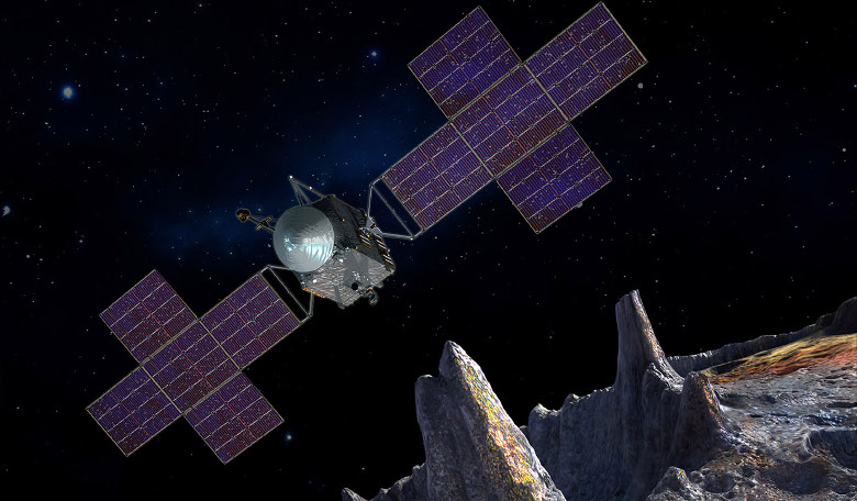 Illustration depicts the spacecraft of NASA's Psyche mission near the mission's target, the metal asteroid Psyche. Image: NASA/JPL-Caltech/Arizona State Univ./Space Systems Loral/Peter Rubin