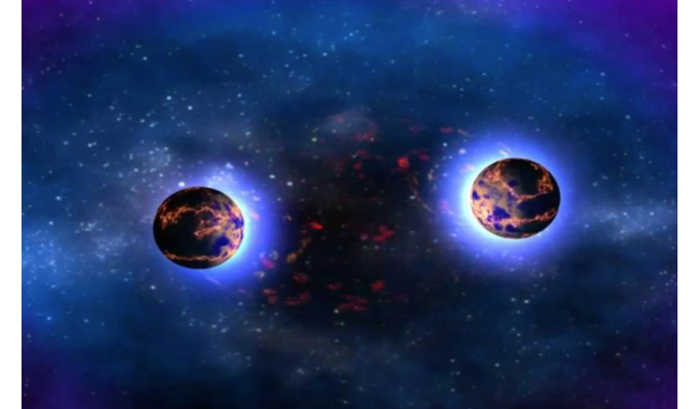 Image depicting the merger of two neutron stars from a horizontal perspective. Image Goddard Media Studios, NASA