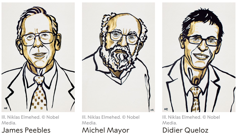 The Nobel Prize in Physics 2019 was awarded to James Peebles, Michel Mayor and Didier Queloz