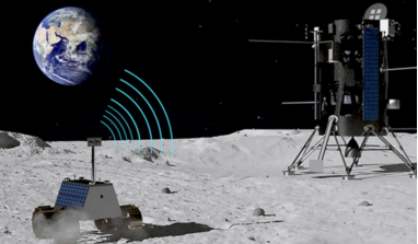 Illustration of a lunar rover communicating with a landing module using Nokia Bell Lab's LTE/4G self-configuring cellular network. Image: Nokia Bell Labs/Intuitive Machines