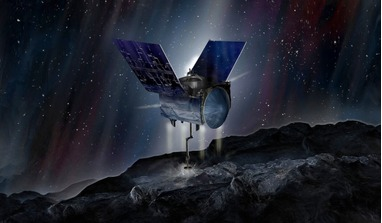 An artist's rendering of OSIRIS-REx collecting samples from and ancient asteroid known as Bennu. Image: James Vaughan