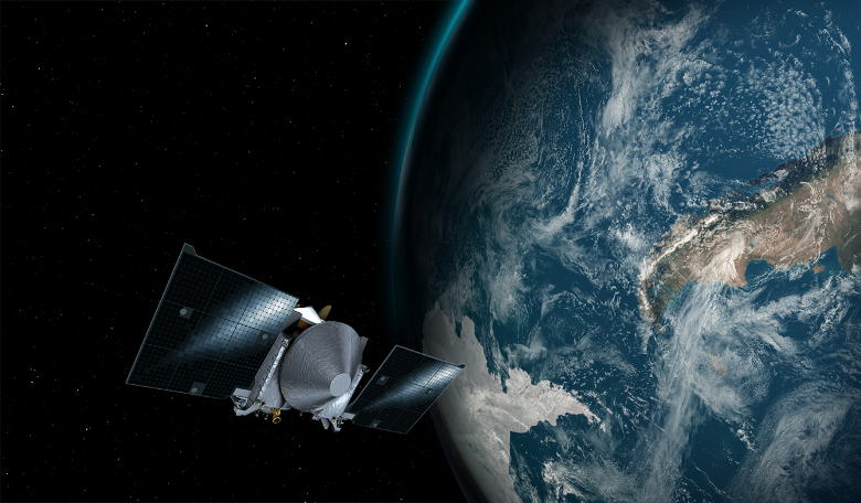 This artist's concept shows the OSIRIS-REx spacecraft passing by Earth. Image: NASA's Goddard Space Flight Center/University of Arizona