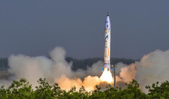 The 9m-tall 'Chongqing Liangjiang Star' OS-X single-stage solid-fuelled rocket lifts off from northwest China on 17 May, 2018. Image: Wan Nan/Chongqing Daily, China Daily