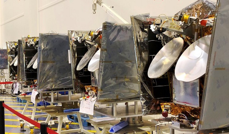 OneWeb satellites aligned in the cleanroom at Airbus Toulouse site, ready for shipment. Image: Airbus