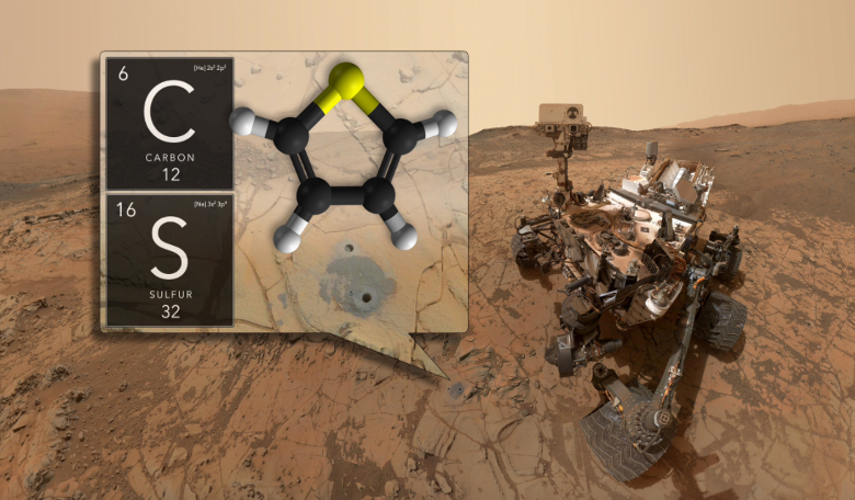 NASA's Curiosity rover has discovered ancient organic molecules on Mars, embedded within sedimentary rocks that are billions of years old. Image: NASA/GSFC