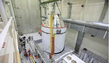 Orion getting ready to be transported to NASA's Exploration Ground Systems (EGS) where teams will perform final preparations on the spacecraft for its mission to the Moon later this year. Image: NASA/Ben Smegelsky