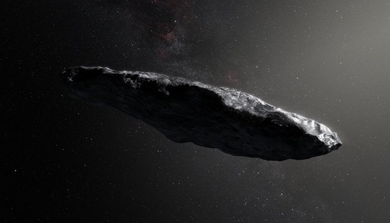 This artist's impression shows the first interstellar asteroid, `Oumuamua. It appears to be a dark red highly-elongated metallic or rocky object, about 400 metres long, and is unlike anything normally found in the Solar System. Image: ESO/M. Kornmesser