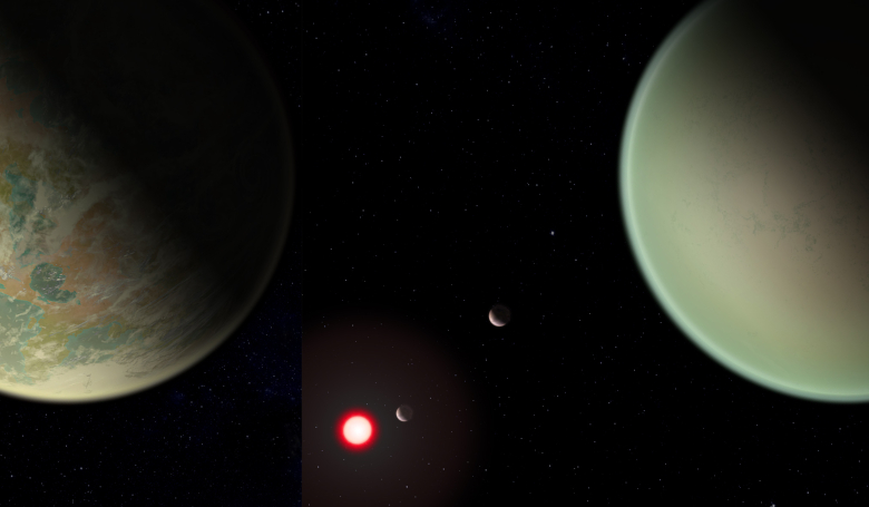 Conceptual image of water-bearing (left) and dry (right) exoplanets with oxygen-rich atmospheres. The red sphere is the M-dwarf star around which the exoplanets orbit. Image: NASA/GSFC/Friedlander-Griswold