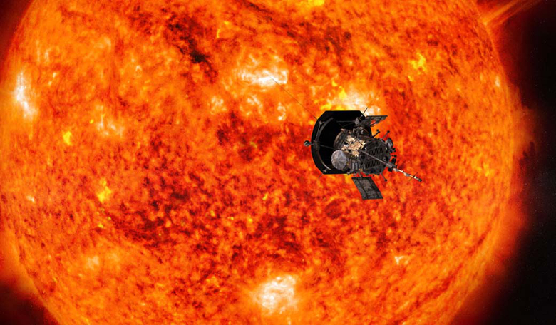 An artists impression of NASA's Parker Solar Probe getting up close to the Sun. Image: NASA