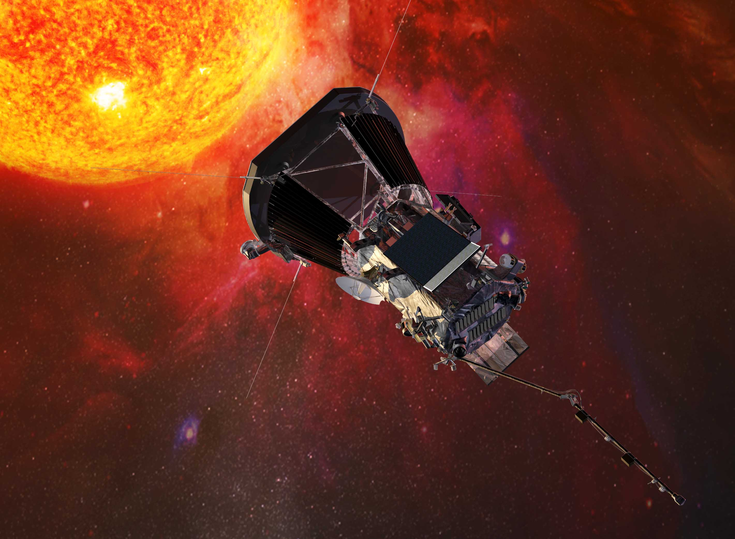 An artists impression of the Parker Solar Probe close to the Sun. Image: NASA