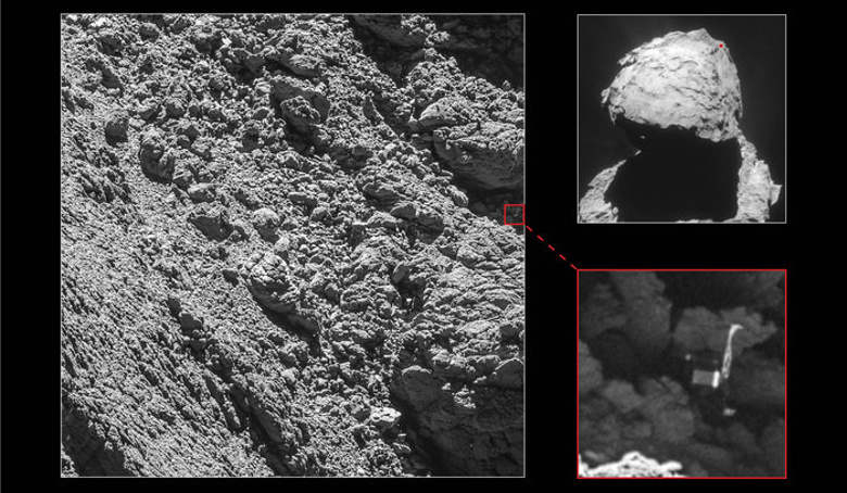 Rosetta's lander Philae has been identified in OSIRIS narrow-angle camera images taken on 2 September 2016 from a distance of 2.7 km. The image scale is about 5 cm/pixel. Image: ESA/Rosetta/MPS for OSIRIS Team