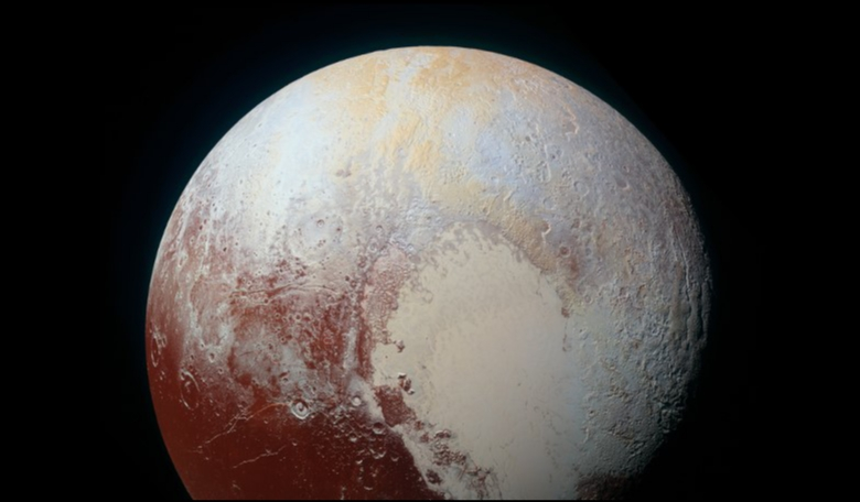 A high-resolution enhanced color view of Pluto taken on July 14, 2015 with NASA's New Horizon spacecraft. Image: NASA/JHUAPL/SwRI