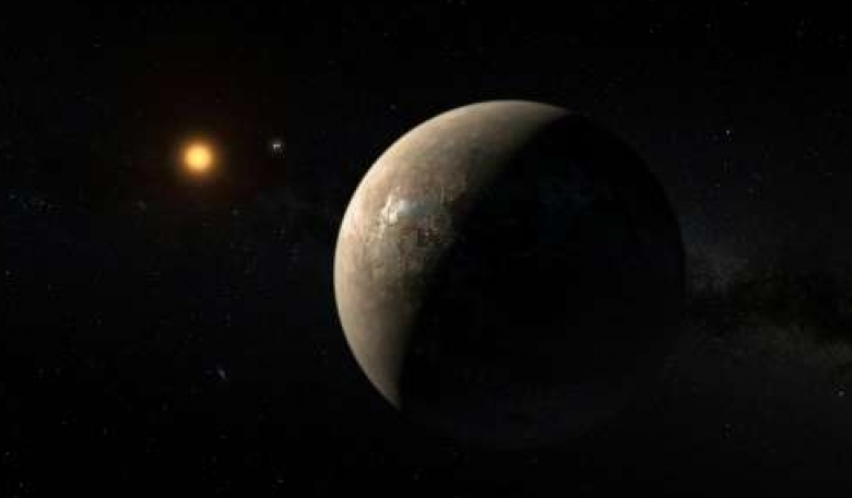 An artist's impression of the planet Proxima b, orbiting the red dwarf star Proxima Centauri, released by the European Southern Observatory on August 24, 2016  Source: Phys.org