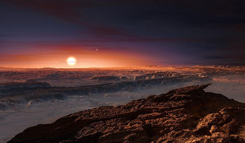 An artist's impression showing a view of the surface of the planet Proxima b orbiting the red dwarf star Proxima Centauri, the closest star to the Solar System. Image: ESO/M. Kornmesser