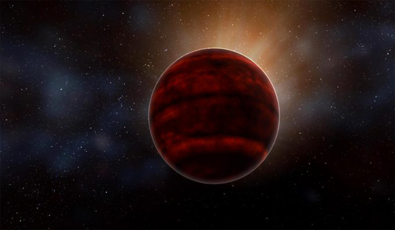 Artist impression of a red dwarf star like Proxima Centauri. New analysis of ALMA observations reveal that a powerful flare emitted from the star could have created inhospitable conditions for Proxima b. Image: NRAO/AUI/NSF; D. Berry