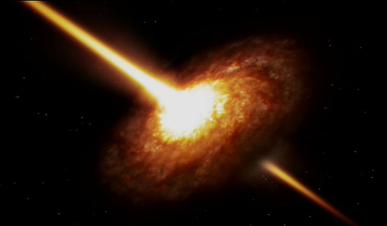 An animation of a quasar - one of the most powerful and energetic objects in the Universe. Image: ESO