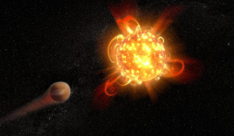 Artist's rendering of an active, young red dwarf stripping the atmosphere from an unlucky orbiting planet. Image: NASA, ESA, and D. Player (STScI)