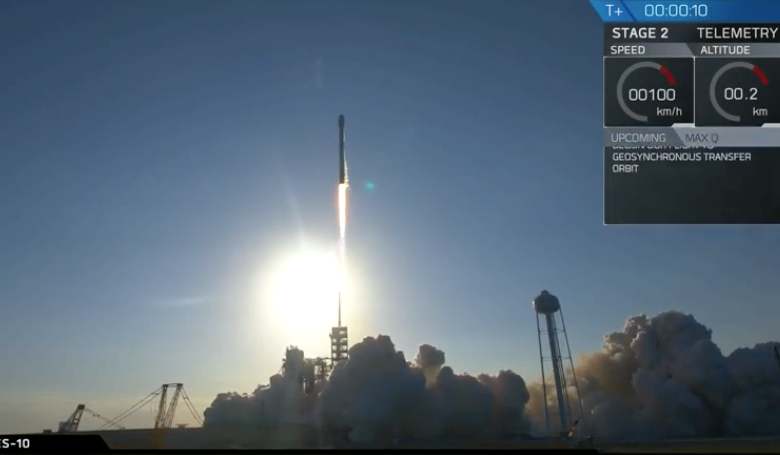 SpaceX's Falcon 9 as it launched yesterday, marking a historic milestone in rocket reusability. Image: SpaceX