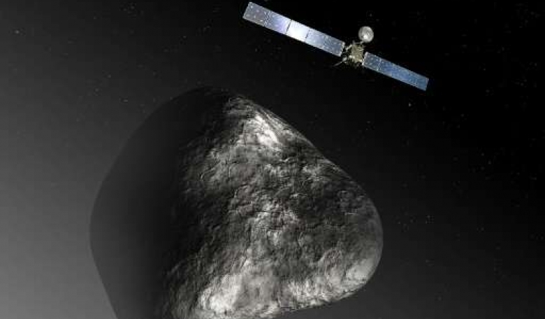 An artist's impression of the Rosetta orbiter at comet 67P/Churyumov–Gerasimenko (Credit: phys.org)