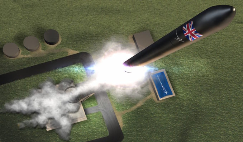 Artist's concept of a rocket lifting off from the U.K.'s first vertical orbital launch site in northern Scotland. Image: Lockheed Martin