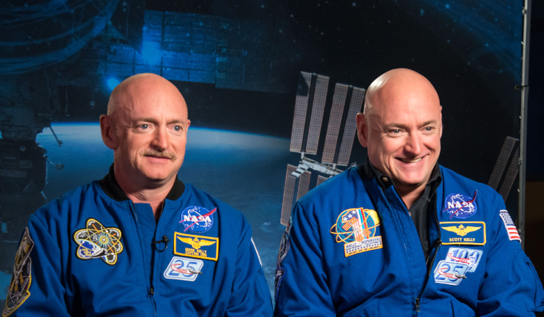 Identical twin astronauts, Scott and Mark Kelly, are subjects of NASA's Twins Study. Scott (right) spent a year in space while Mark (left) stayed on Earth as a control subject. Image: NASA