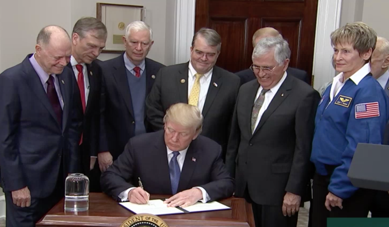 President Trump signs his Space Policy Directive 1