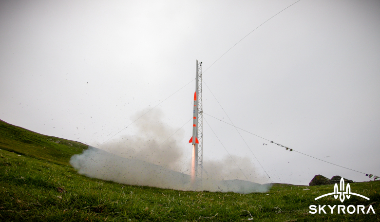 Skyrora's Skylark Nano rocket gets ready for launch at a remote facility in Scotland. Image: Skyrora